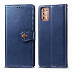 Coque Portefeuille Livre Cuir Etui Clapet L09 pour Motorola Moto G9 Plus Bleu