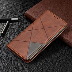 Coque Portefeuille Livre Cuir Etui Clapet L10 pour Huawei Y6p Marron