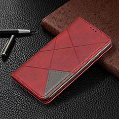 Coque Portefeuille Livre Cuir Etui Clapet L10 pour Huawei Y6p Rouge