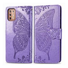 Coque Portefeuille Livre Cuir Etui Clapet L10 pour Motorola Moto G9 Plus Violet Clair