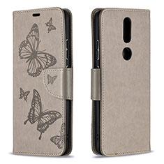 Coque Portefeuille Livre Cuir Etui Clapet L10 pour Nokia 2.4 Gris