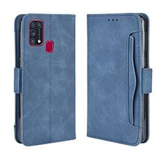 Coque Portefeuille Livre Cuir Etui Clapet L10 pour Samsung Galaxy M21s Bleu