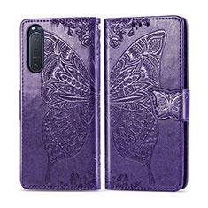 Coque Portefeuille Livre Cuir Etui Clapet L10 pour Sony Xperia 5 II Violet