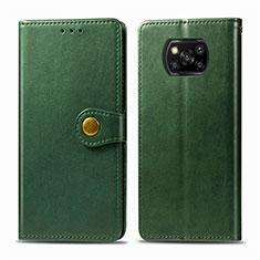Coque Portefeuille Livre Cuir Etui Clapet L10 pour Xiaomi Poco X3 NFC Vert