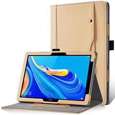 Coque Portefeuille Livre Cuir Etui Clapet L12 pour Huawei MediaPad M6 10.8 Or