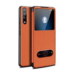 Coque Portefeuille Livre Cuir Etui Clapet L12 pour Huawei Y8p Orange