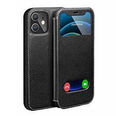Coque Portefeuille Livre Cuir Etui Clapet N01 pour Apple iPhone 12 Noir