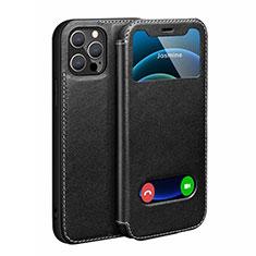 Coque Portefeuille Livre Cuir Etui Clapet N01 pour Apple iPhone 12 Pro Noir