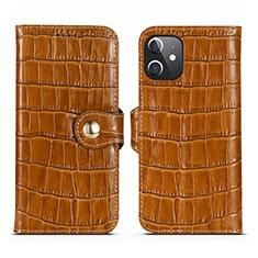 Coque Portefeuille Livre Cuir Etui Clapet N02 pour Apple iPhone 12 Marron