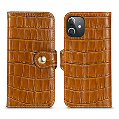 Coque Portefeuille Livre Cuir Etui Clapet N02 pour Apple iPhone 12 Mini Marron