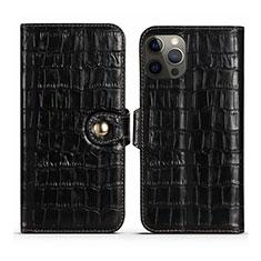 Coque Portefeuille Livre Cuir Etui Clapet N02 pour Apple iPhone 12 Pro Noir