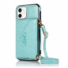 Coque Portefeuille Livre Cuir Etui Clapet N03 pour Apple iPhone 12 Mini Cyan