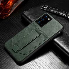 Coque Portefeuille Livre Cuir Etui Clapet N08 pour Samsung Galaxy Note 20 5G Vert Nuit
