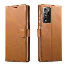 Coque Portefeuille Livre Cuir Etui Clapet N08 pour Samsung Galaxy Note 20 Ultra 5G Brun Clair