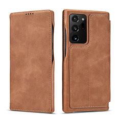 Coque Portefeuille Livre Cuir Etui Clapet N09 pour Samsung Galaxy Note 20 Ultra 5G Brun Clair