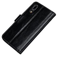 Coque Portefeuille Livre Cuir Etui Clapet P01 pour Huawei P20 Noir