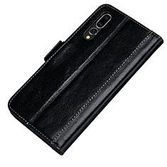 Coque Portefeuille Livre Cuir Etui Clapet P01 pour Huawei P20 Pro Noir