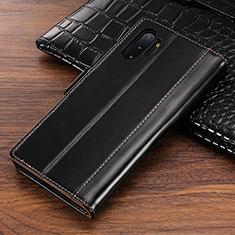 Coque Portefeuille Livre Cuir Etui Clapet P01 pour Samsung Galaxy Note 10 Plus Noir