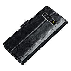 Coque Portefeuille Livre Cuir Etui Clapet P01 pour Samsung Galaxy S10 Noir