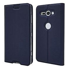 Coque Portefeuille Livre Cuir Etui Clapet P01 pour Sony Xperia XZ2 Compact Bleu