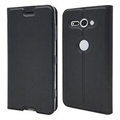 Coque Portefeuille Livre Cuir Etui Clapet P01 pour Sony Xperia XZ2 Compact Noir