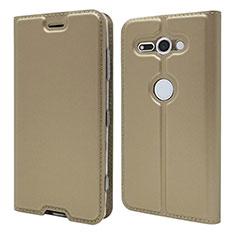 Coque Portefeuille Livre Cuir Etui Clapet P01 pour Sony Xperia XZ2 Compact Or