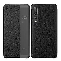 Coque Portefeuille Livre Cuir Etui Clapet P02 pour Huawei P20 Pro Noir