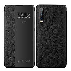 Coque Portefeuille Livre Cuir Etui Clapet P02 pour Huawei P30 Noir