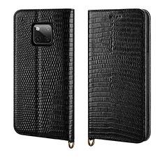 Coque Portefeuille Livre Cuir Etui Clapet P04 pour Huawei Mate 20 Pro Noir