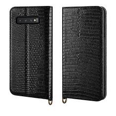 Coque Portefeuille Livre Cuir Etui Clapet P04 pour Samsung Galaxy S10 Noir
