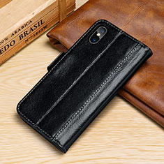 Coque Portefeuille Livre Cuir Etui Clapet P05 pour Apple iPhone X Noir
