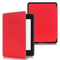 Coque Portefeuille Livre Cuir Etui Clapet pour Amazon Kindle Paperwhite 6 inch Rouge