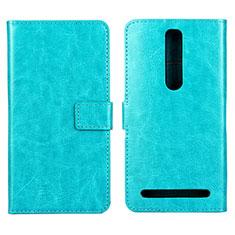 Coque Portefeuille Livre Cuir Etui Clapet pour Asus Zenfone 2 ZE551ML ZE550ML Cyan