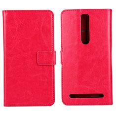 Coque Portefeuille Livre Cuir Etui Clapet pour Asus Zenfone 2 ZE551ML ZE550ML Rose Rouge