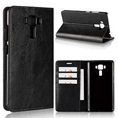 Coque Portefeuille Livre Cuir Etui Clapet pour Asus Zenfone 3 Laser Noir