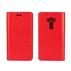 Coque Portefeuille Livre Cuir Etui Clapet pour Asus Zenfone 3 ZE552KL Rouge