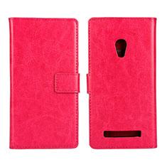 Coque Portefeuille Livre Cuir Etui Clapet pour Asus Zenfone 5 Rose Rouge