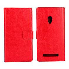 Coque Portefeuille Livre Cuir Etui Clapet pour Asus Zenfone 5 Rouge