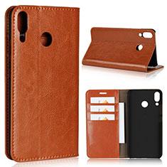 Coque Portefeuille Livre Cuir Etui Clapet pour Asus Zenfone 5z ZS620KL Orange