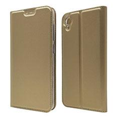 Coque Portefeuille Livre Cuir Etui Clapet pour Asus ZenFone Live L1 ZA550KL Or