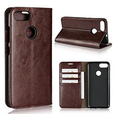 Coque Portefeuille Livre Cuir Etui Clapet pour Asus Zenfone Max Plus M1 ZB570TL Marron