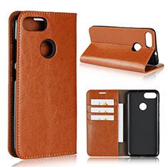 Coque Portefeuille Livre Cuir Etui Clapet pour Asus Zenfone Max Plus M1 ZB570TL Orange