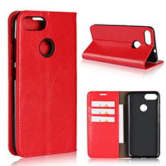 Coque Portefeuille Livre Cuir Etui Clapet pour Asus Zenfone Max Plus M1 ZB570TL Rouge
