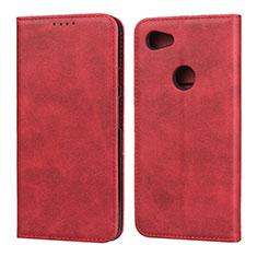 Coque Portefeuille Livre Cuir Etui Clapet pour Google Pixel 3a XL Rouge
