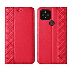 Coque Portefeuille Livre Cuir Etui Clapet pour Google Pixel 5 Rouge
