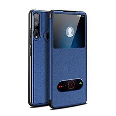 Coque Portefeuille Livre Cuir Etui Clapet pour Huawei Enjoy 10 Plus Bleu
