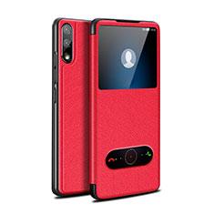 Coque Portefeuille Livre Cuir Etui Clapet pour Huawei Enjoy 10 Rouge