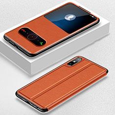Coque Portefeuille Livre Cuir Etui Clapet pour Huawei Enjoy 10e Orange