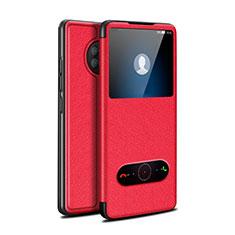 Coque Portefeuille Livre Cuir Etui Clapet pour Huawei Enjoy 20 Plus 5G Rouge