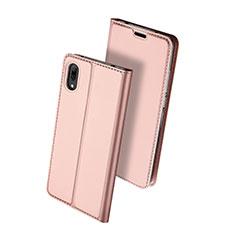 Coque Portefeuille Livre Cuir Etui Clapet pour Huawei Enjoy 9 Or Rose
